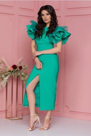 Rochie verde cu volane la maneci si crepeu in fata