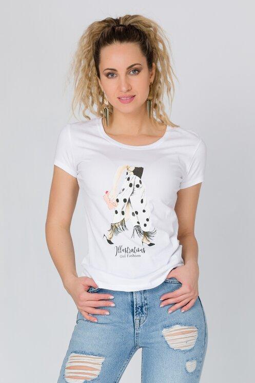 Tricou alb cu imprimeu
