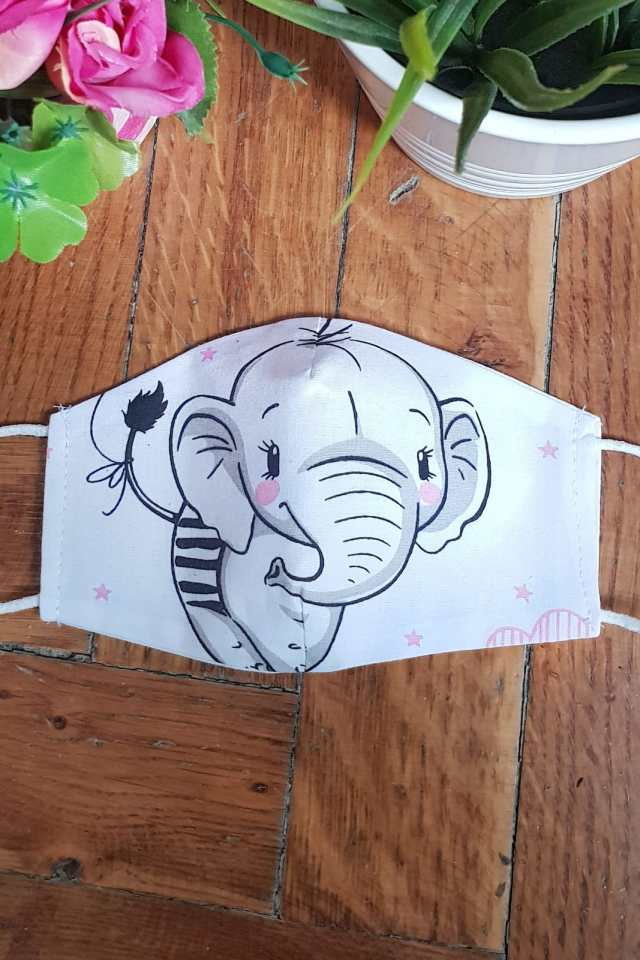 Masca protectie reutilizabila copii Imprimeu Elefant