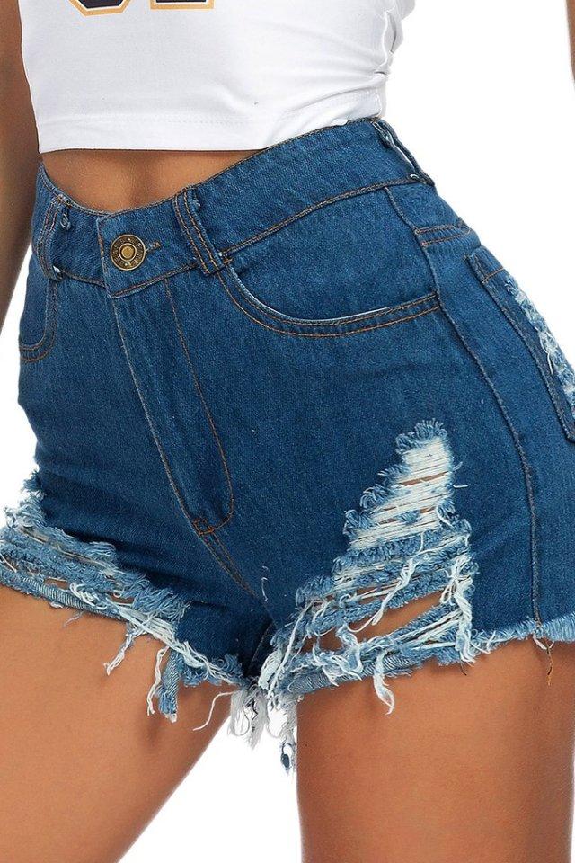 Pantaloni scurți de primăvară și vară pentru femei din denim elastic