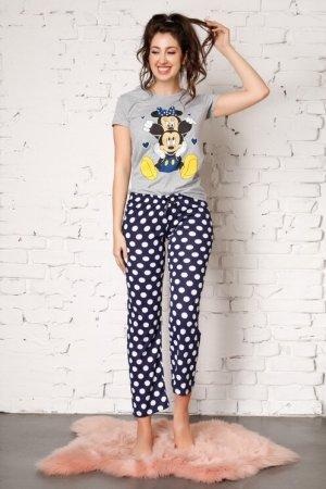Pijama Minnie si Mickey cu pantaloni bleumarin si buline