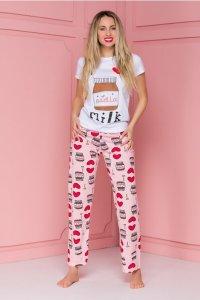 Pijama dama Love Nutella cu pantaloni roz cu imprimeu