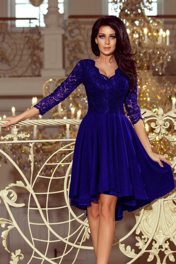 Rochie de ocazie eleganta croi asimetric cu bustul si manecile din dantela culoare albastru regal