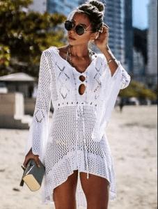 Rochie de plaja alba crosetata