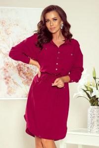 Rochie de zi midi tip camasa burgundy