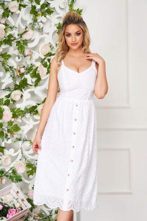 Rochie eleganta alba midi de zi in clos din material perforat cu bretele
