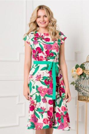 Rochie eleganta in clos alba cu imprimeuri florale fucsia si verzi