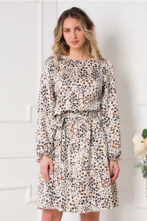 Rochie eleganta midi alba cu maneci lungi buline gri si caramizii
