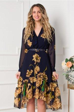 Rochie eleganta midi asimetrica bleumarin cu imprimeu floral