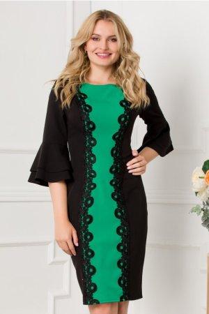 Rochie eleganta midi cu broderie pe fata si insertie verde