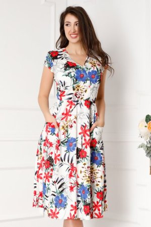 Rochie eleganta midi in clos alba cu imprimeuri florale colorate