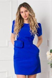 Rochie eleganta scurta albastra cu borseta si decolteu rotund
