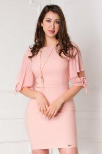 Rochie eleganta scurta cambrata roz cu maneci vaporoase