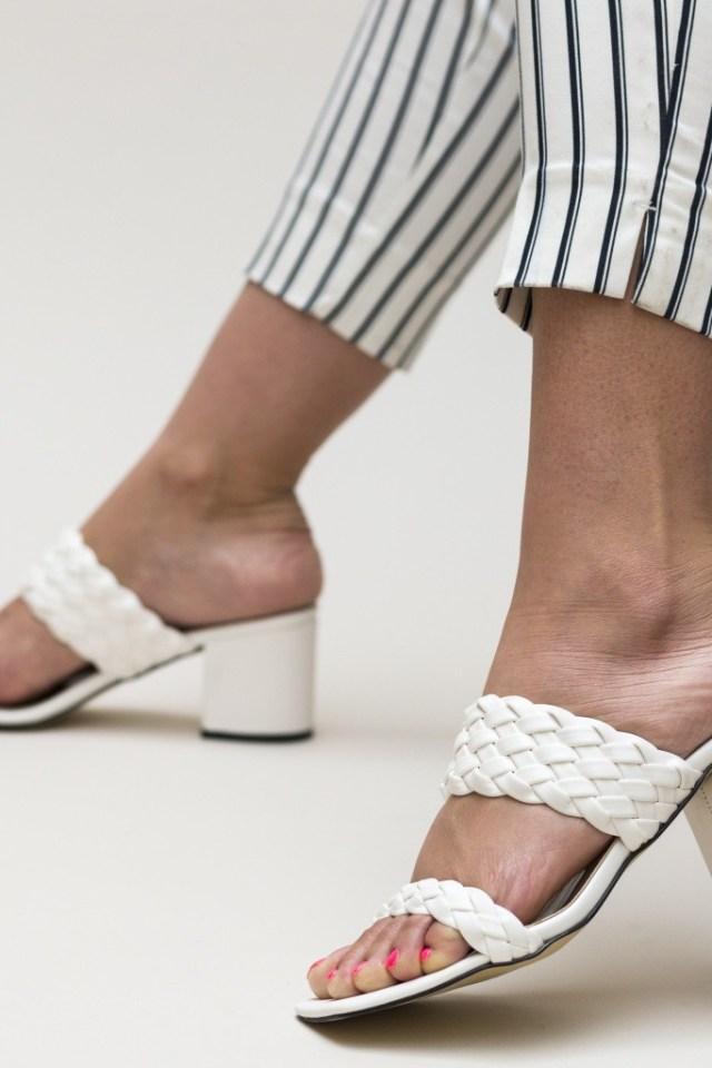 Sandale albe cu toc gros din piele ecologica
