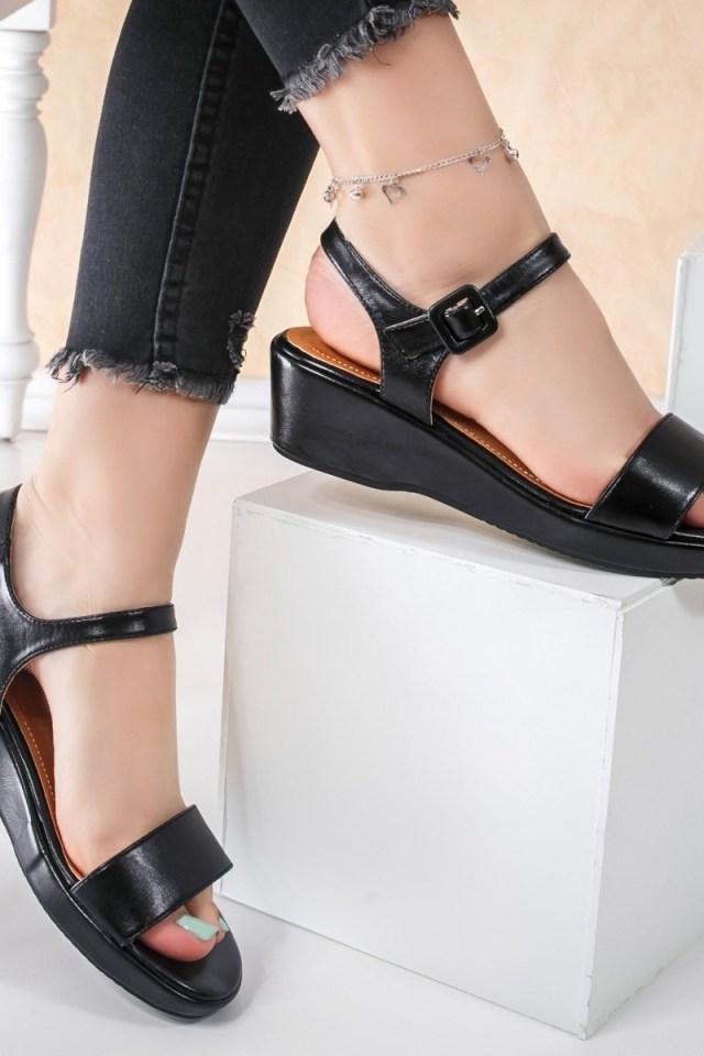 Sandale cu platforma dama negre Rargise