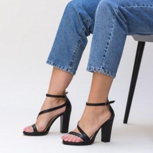 Sandale negre cu toc din piele ecologica