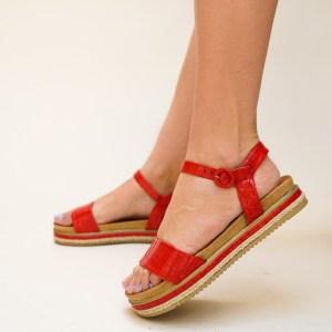 Sandale rosii cu talpa joasa din piele ecologica