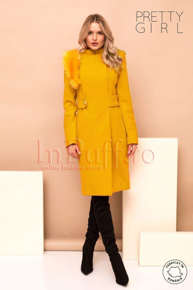 Palton dama galben mustar cu accesoriu detasabil pe umar din blana ecologica