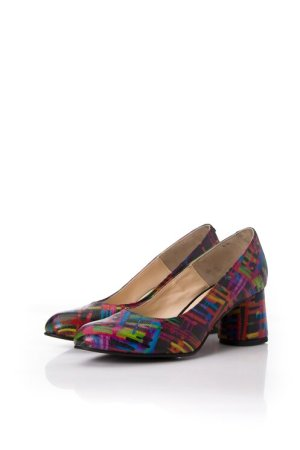 Pantofi din piele naturala cu imprimeu in dungi multicolore