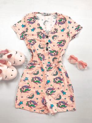 Pijama dama scurta tip salopeta portocalie cu nasturi si imprimeu Unicorni