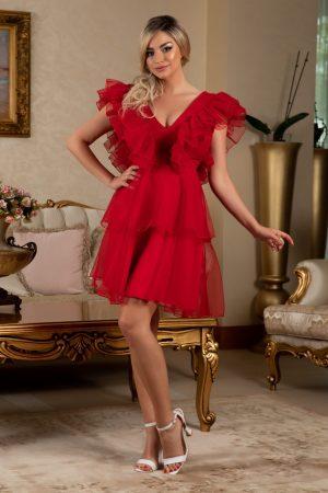 Rochie de ocazie scurta rosie din organza