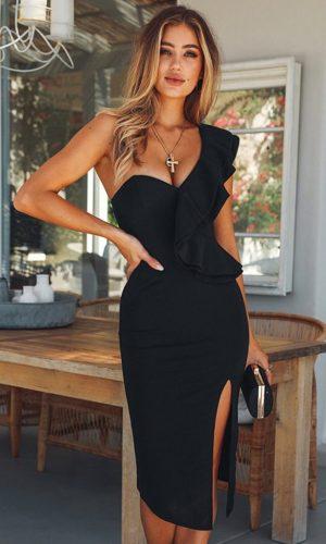 Rochie de seara eleganta si rochie de ocazie midi neagra pe umar din barbieRochie de seara eleganta si rochie de ocazie midi neagra pe umar din barbie