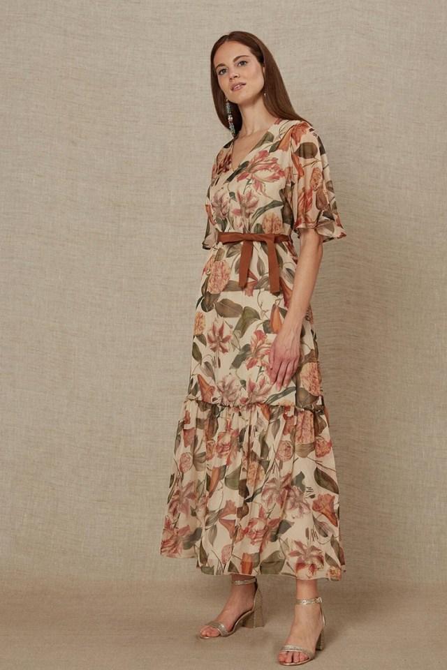 Rochie de zi midi eleganta cu imprimeu floral