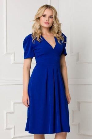 Rochie eleganta midi albastra in clos cu nasturi pe spate