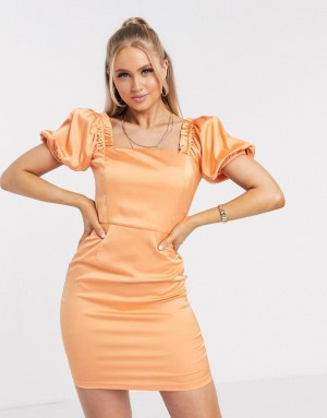 Rochie eleganta piersica si maneci bufante