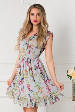 Rochie eleganta scurta gri in clos cu imprimeu floral si decolteu in V