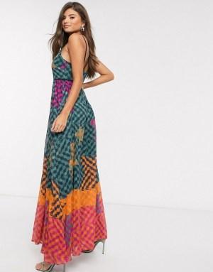 Rochie lunga eleganta de zi cu imprimeu colorat