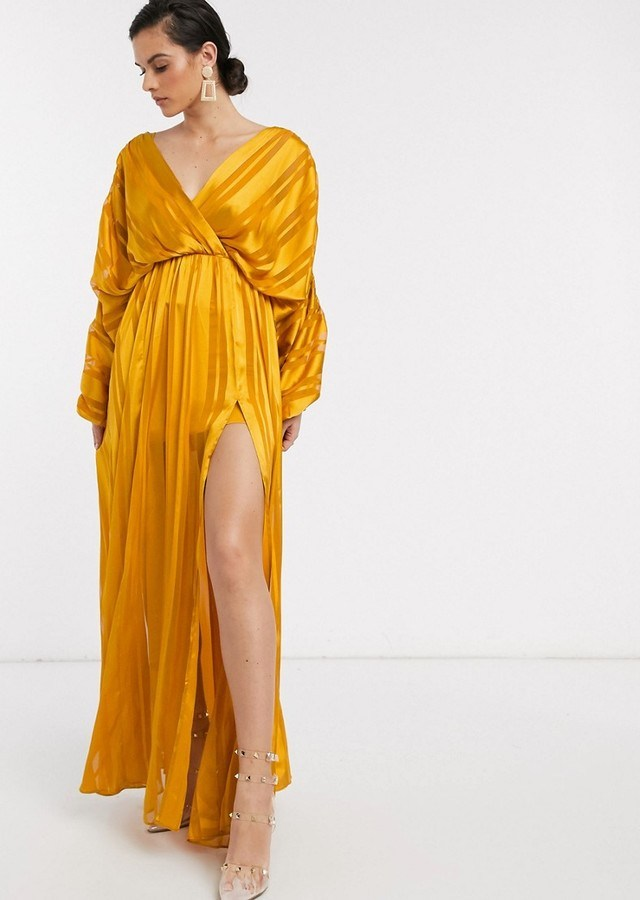 Rochie lunga eleganta galben mustar din satin