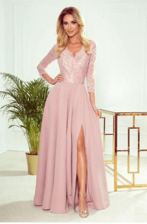 Rochie lunga eleganta roz pudra