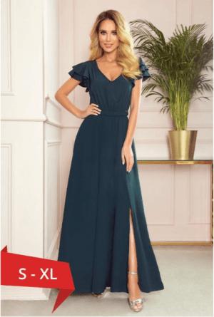 Rochie lunga verde inchis cu volane