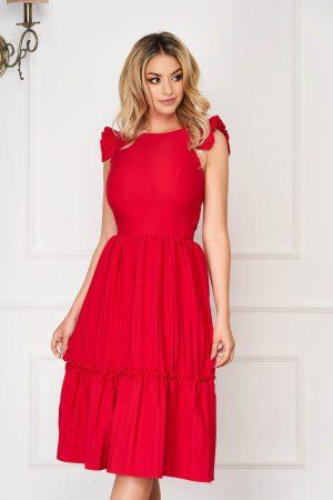 Rochie rosie eleganta midi in clos din stofa elastica cu spatele decupat
