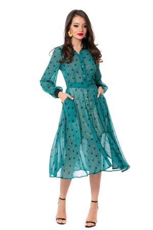 Rochie tip camasa albastra din vascoza cu imprimeu