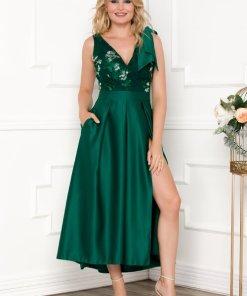 Rochie verde din tafta cu broderie florala si paiete la bust