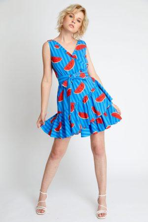 Rochie eleganta de zi din bumbac cu imprimeu pepene