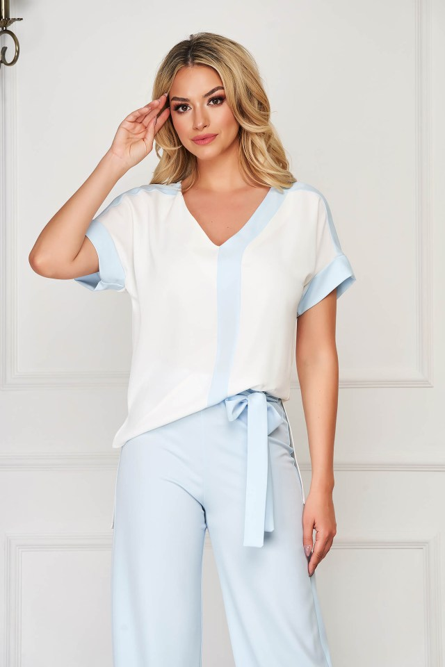 Bluza dama alba eleganta cu croi larg cu decolteu in v cu maneci scurte StarShinerS