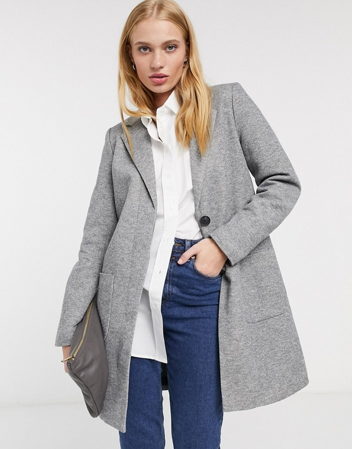 Only arya light longline single breasted coat in gray