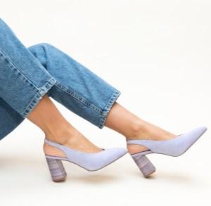Pantofi din piele intoarsa lila Depurtat
