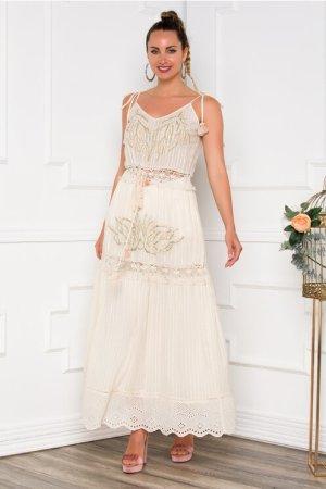 Rochie beige lunga accesorizata cu broderie si margelute Dyfashion