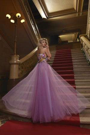 Rochie lunga eleganta cu fusta din tulle Foggi