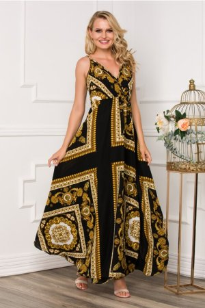 Rochie lunga neagra cu imprimeu vintage auriu Dyfashion