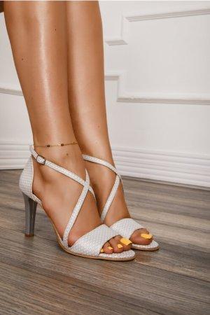 Sandale albe cu insertii argintii Dyfashion