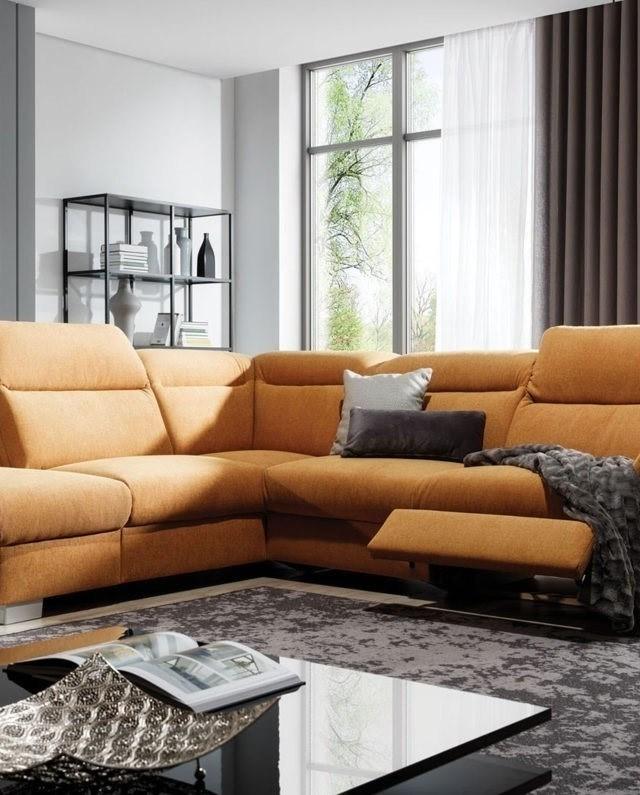 Coltar fix cu mecanism Relax cu sezlong pe stanga tapitat cu Icon 45 Reno Mustariu