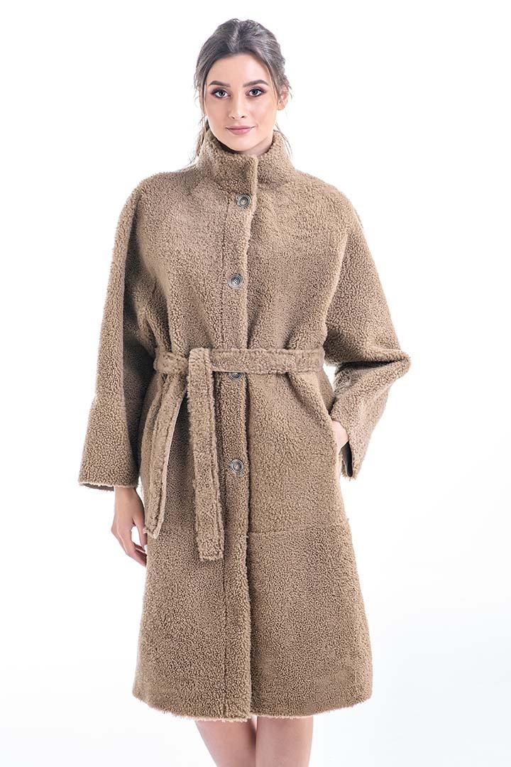 Palton din blană de miel reversibil