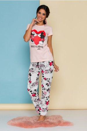 Pijama Minnie&Mickey cu tricou roz si pantaloni albi cu imprimeu