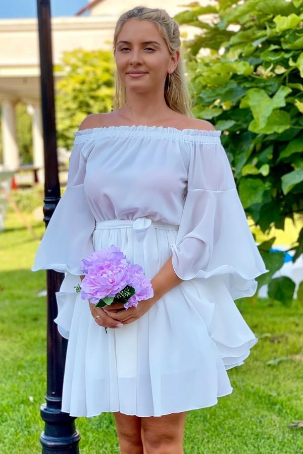 Rochie Sara in nuante de alb