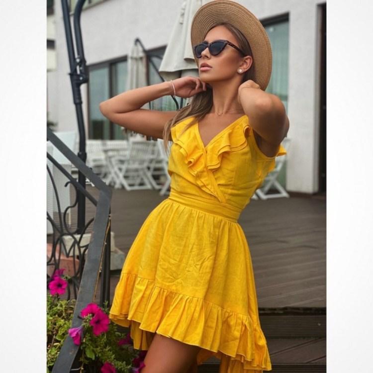 Rochie dama din in SUPER SUMMER PARTY Yellow cu spatele gol